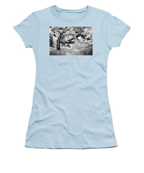 Women's T-Shirt (Junior Cut) featuring the photograph Poplar On The Edge Of A Field by Dan Jurak