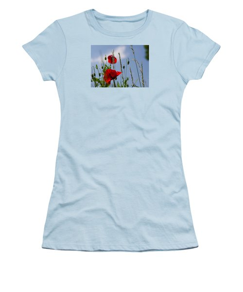 Poppies In The Skies Women's T-Shirt (Junior Cut) by Rainer Kersten