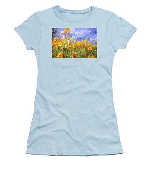 Poppy Field Women's T-Shirt (Junior Cut) by Bonnie Bruno