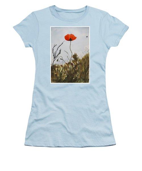 Poppy On The Field Women's T-Shirt (Junior Cut) by Manuela Constantin