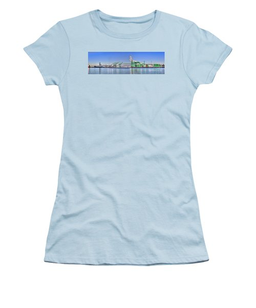 Women's T-Shirt (Junior Cut) featuring the photograph Port Of Los Angeles - Panoramic by Jim Carrell