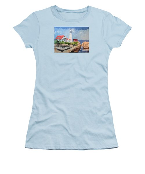 Portland Headlight By The Sea Women's T-Shirt (Athletic Fit)