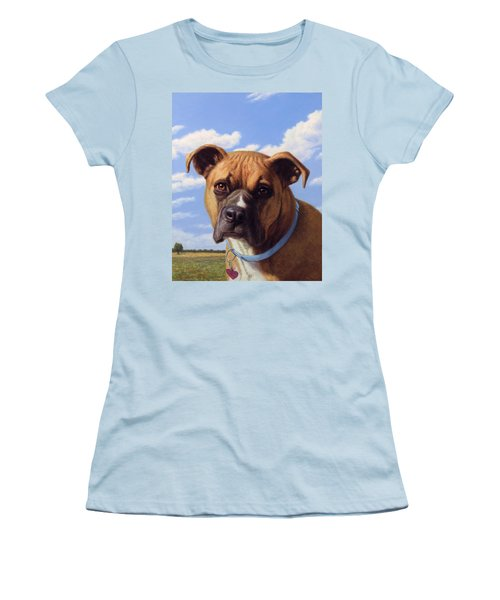 Women's T-Shirt (Junior Cut) featuring the painting Portrait Of A Sweet Boxer by James W Johnson