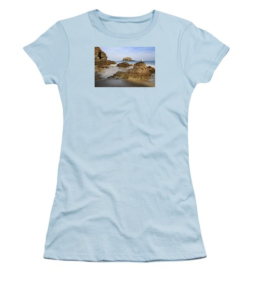 Women's T-Shirt (Junior Cut) featuring the photograph Portreath by Shirley Mitchell
