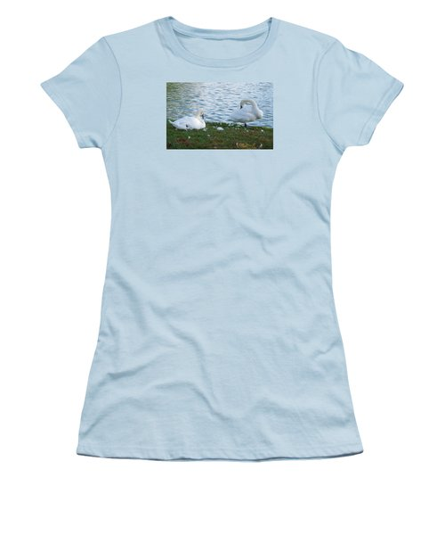 Preening Swans Women's T-Shirt (Junior Cut) by Cathy Donohoue