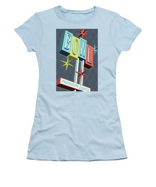 Premiere Lanes Bowling Pop Art Women's T-Shirt (Athletic Fit)