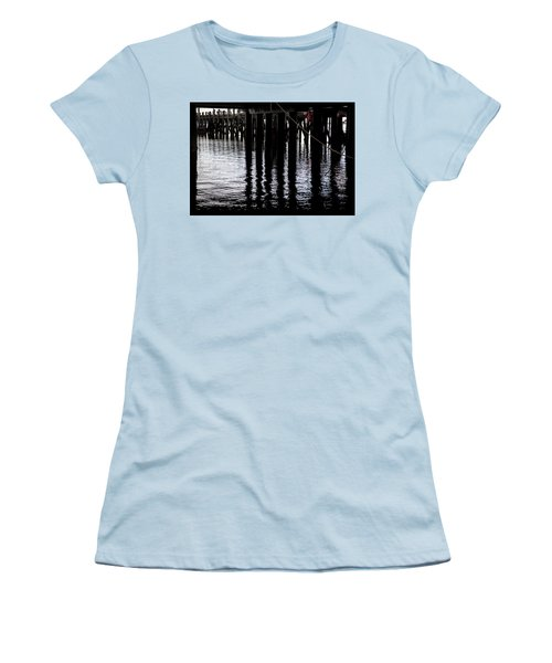 Women's T-Shirt (Junior Cut) featuring the photograph Provincetown Wharf Reflections by Charles Harden