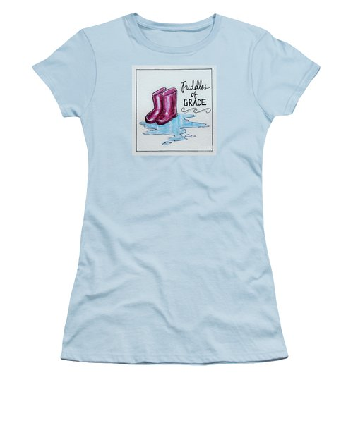 Women's T-Shirt (Junior Cut) featuring the painting Puddles Of Grace by Elizabeth Robinette Tyndall
