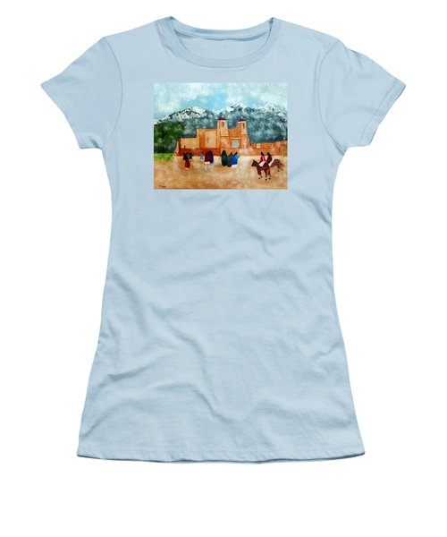 Women's T-Shirt (Junior Cut) featuring the photograph Pueblo Church by Joseph Frank Baraba