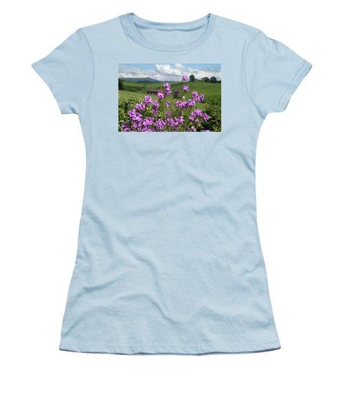 Purple Flower In Landscape Women's T-Shirt (Junior Cut) by Emanuel Tanjala
