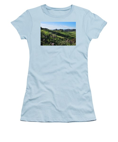 Women's T-Shirt (Athletic Fit) featuring the photograph Purple Flowers And Green Hills Landscape by Matt Harang