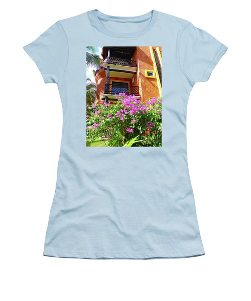 Women's T-Shirt (Athletic Fit) featuring the photograph Purple Flowers By The Balcony by Francesca Mackenney