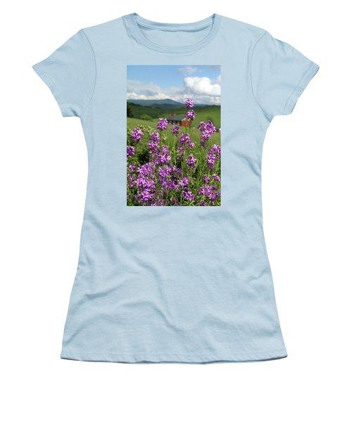 Purple Wild Flowers On Field Women's T-Shirt (Junior Cut) by Emanuel Tanjala