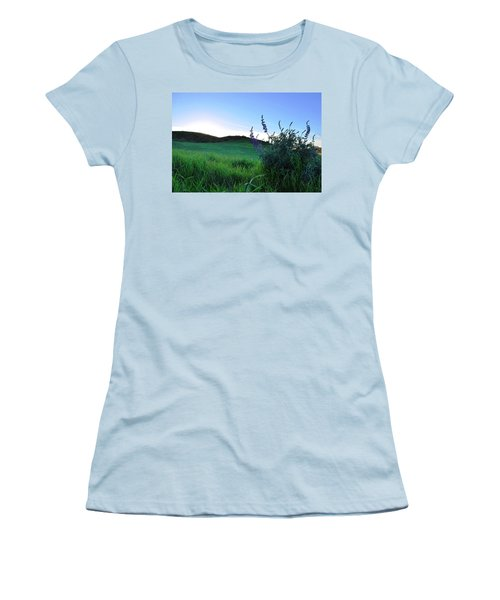 Women's T-Shirt (Athletic Fit) featuring the photograph Purple Wildflowers In Beautiful Green Pastures by Matt Harang