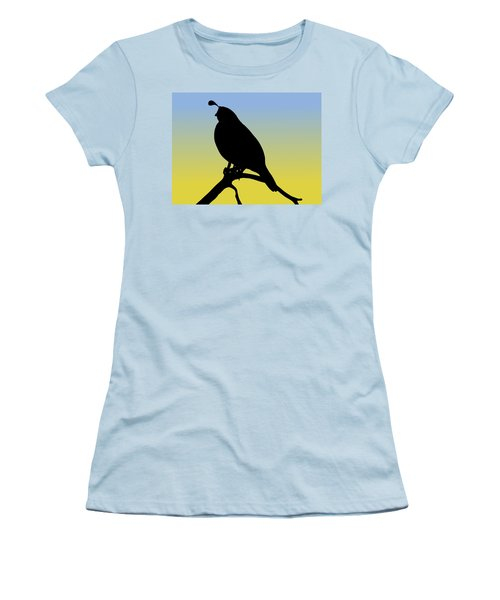 Quail Silhouette At Sunrise Women's T-Shirt (Athletic Fit)