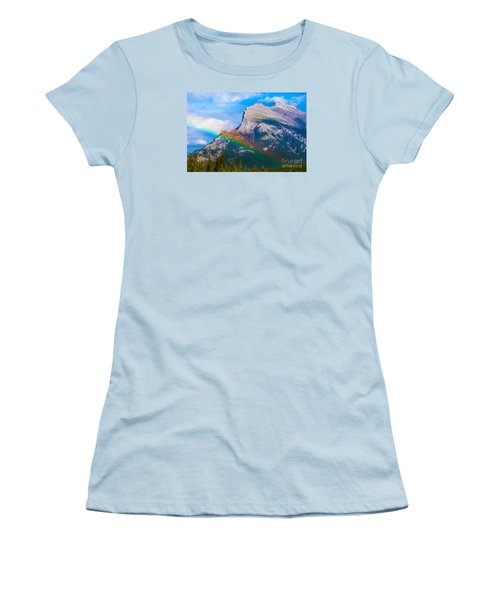 Rainbow On Mt Rundle Women's T-Shirt (Junior Cut) by John Roberts