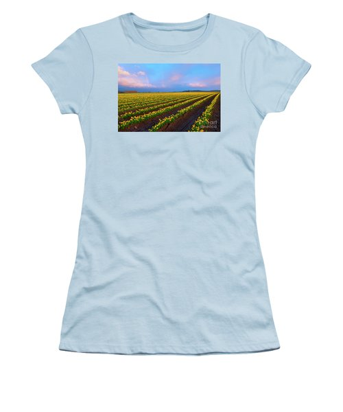 Women's T-Shirt (Junior Cut) featuring the photograph Rainbows, Daffodils And Sunset by Mike Dawson