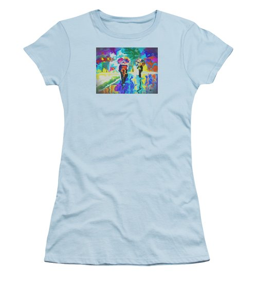 Women's T-Shirt (Athletic Fit) featuring the digital art Rainfall by Darren Cannell