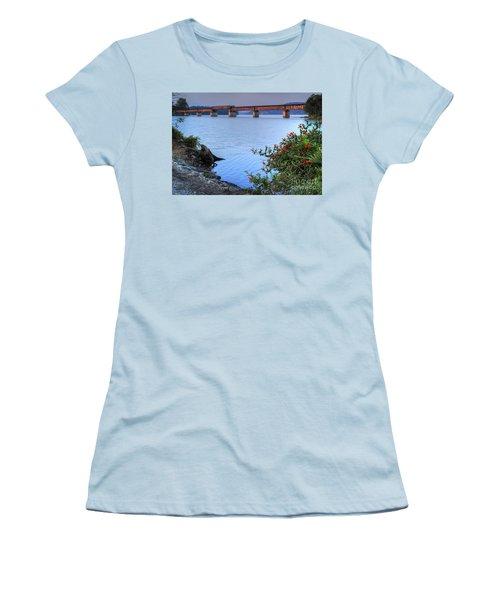 Women's T-Shirt (Athletic Fit) featuring the photograph Rankin Bottoms Rr Bridge by Douglas Stucky