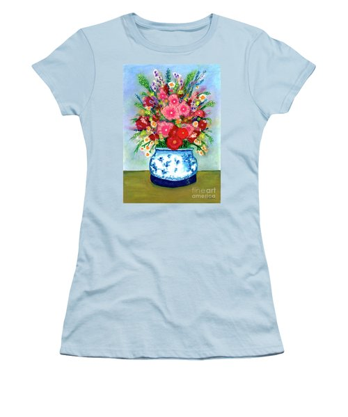 Red And Pink Rose Flower Garden Still Life Painting 615 Women's T-Shirt (Athletic Fit)