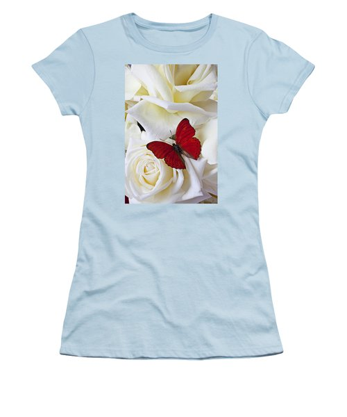 Red Butterfly On White Roses Women's T-Shirt (Junior Cut) by Garry Gay