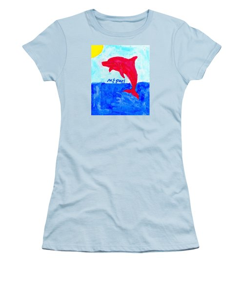 Red Dolphin Women's T-Shirt (Junior Cut) by Artists With Autism Inc