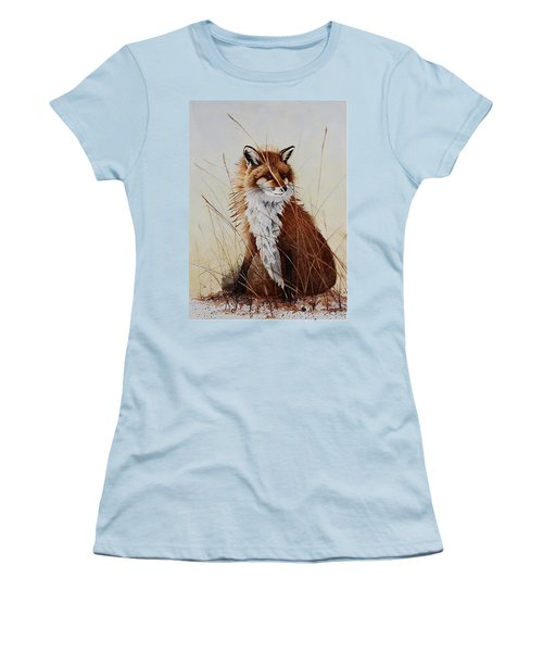 Red Fox Waiting On Breakfast Women's T-Shirt (Junior Cut) by Jimmy Smith