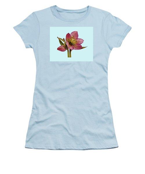 Red Hellebore Blue Background Women's T-Shirt (Junior Cut) by Paul Gulliver
