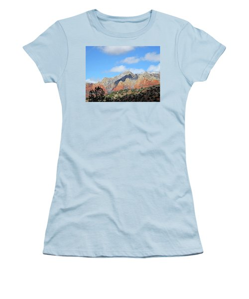 Women's T-Shirt (Athletic Fit) featuring the photograph Red Hills Ridge Shadow by Lynda Lehmann