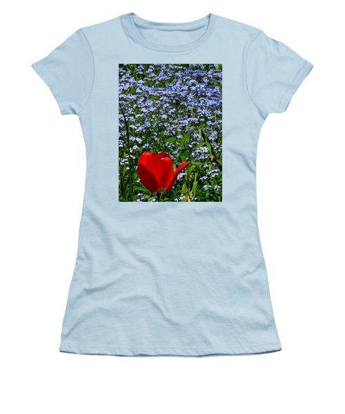 Red In Blue2 Women's T-Shirt (Junior Cut) by John Topman