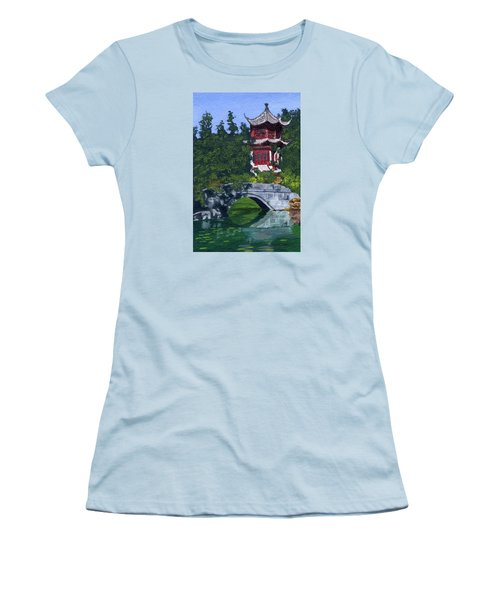Women's T-Shirt (Athletic Fit) featuring the painting Red Pagoda by Lynne Reichhart
