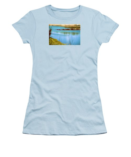 Women's T-Shirt (Junior Cut) featuring the photograph Red River Crossing Old Bridge by Diana Mary Sharpton