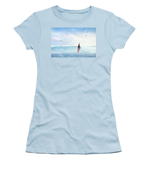 Red Sails On A Blue Sea Women's T-Shirt (Junior Cut) by Pattie Calfy