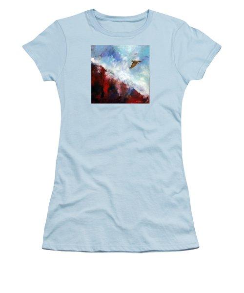 Red Tail Women's T-Shirt (Junior Cut) by David  Maynard