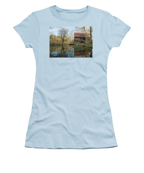 Reflection On A Grist Mill Women's T-Shirt (Junior Cut) by George Randy Bass