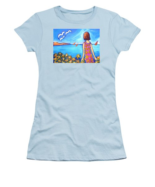 Women's T-Shirt (Junior Cut) featuring the painting Remembering Joy by Winsome Gunning