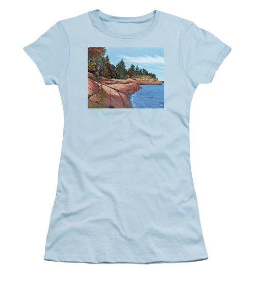 Women's T-Shirt (Junior Cut) featuring the painting Rocky River Shore by Kenneth M Kirsch
