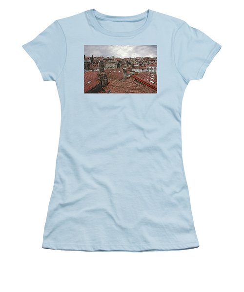 Roofs Over Santiago Women's T-Shirt (Junior Cut) by Angel Jesus De la Fuente
