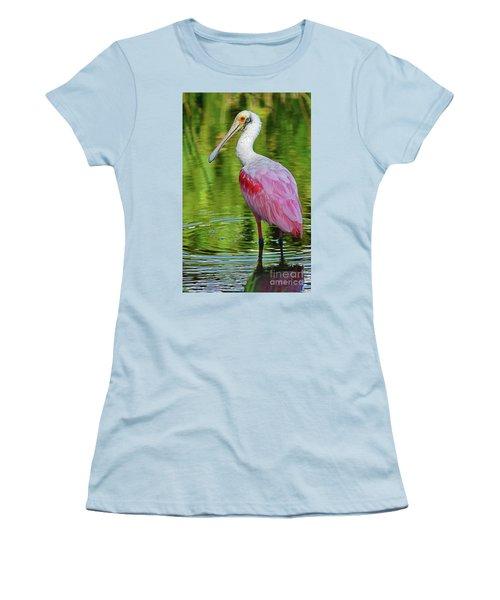 Roseate Spoonbill Portrait Women's T-Shirt (Junior Cut) by Larry Nieland