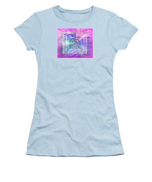 Women's T-Shirt (Junior Cut) featuring the digital art Roses Are Red Violets Are Blue These Roses Are Just For You by Sherri Of Palm Springs