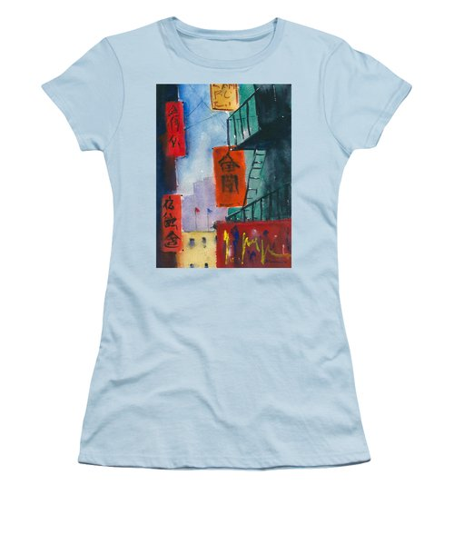 Ross Alley, Chinatown Women's T-Shirt (Junior Cut) by Tom Simmons