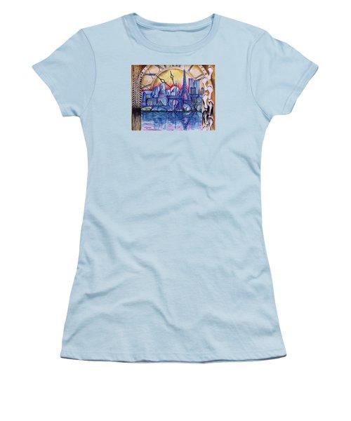Women's T-Shirt (Junior Cut) featuring the painting Rush Hour In Paris by Geni Gorani