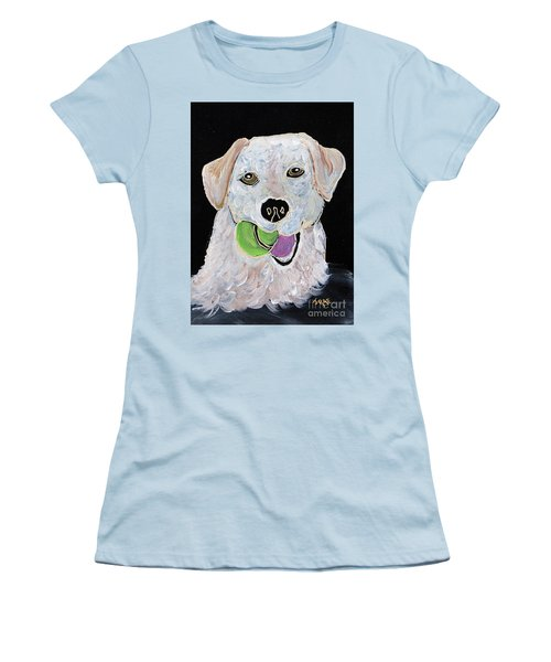 Women's T-Shirt (Junior Cut) featuring the painting Rusty On Canvas by Janice Rae Pariza