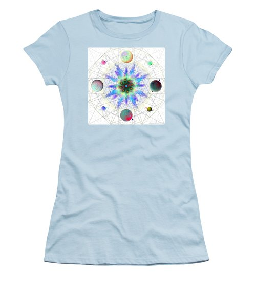 Women's T-Shirt (Athletic Fit) featuring the digital art Sacred Planetary Geometry - Blue Atom Light by Iowan Stone-Flowers