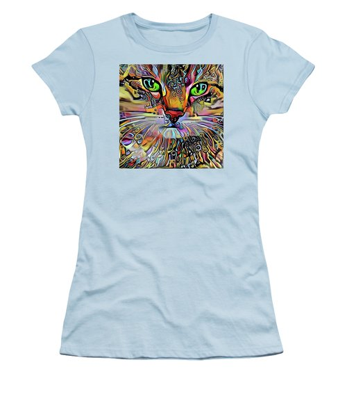 Sadie The Colorful Abstract Cat Women's T-Shirt (Athletic Fit)
