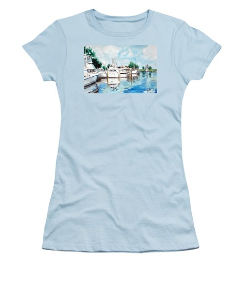 Women's T-Shirt (Junior Cut) featuring the painting Safe Harbor by Jim Phillips