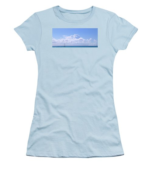 Women's T-Shirt (Athletic Fit) featuring the photograph Sailboat Sea And Sky M5 by Francesca Mackenney