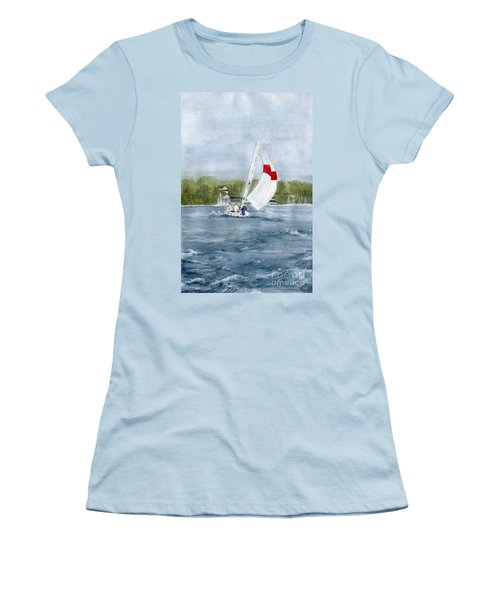 Women's T-Shirt (Junior Cut) featuring the painting Sailing On Niagara River by Melly Terpening