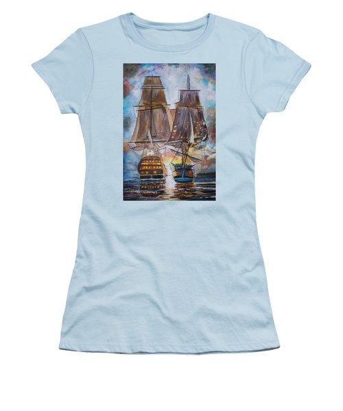 Sailing Ships At War. Women's T-Shirt (Athletic Fit)