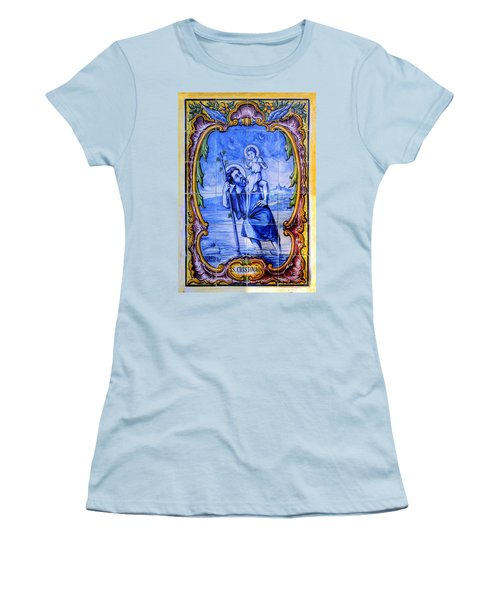 Saint Christopher Carrying The Christ Child Across The River - Near Entrance To The Carmel Mission Women's T-Shirt (Athletic Fit)